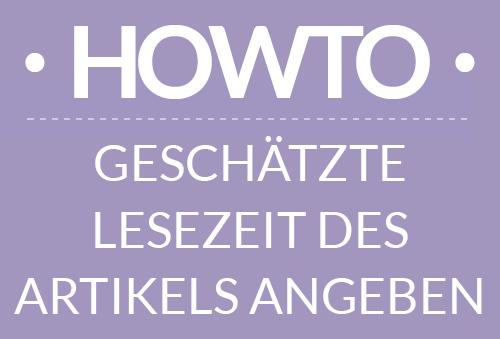 How-To Lesezeit angeben