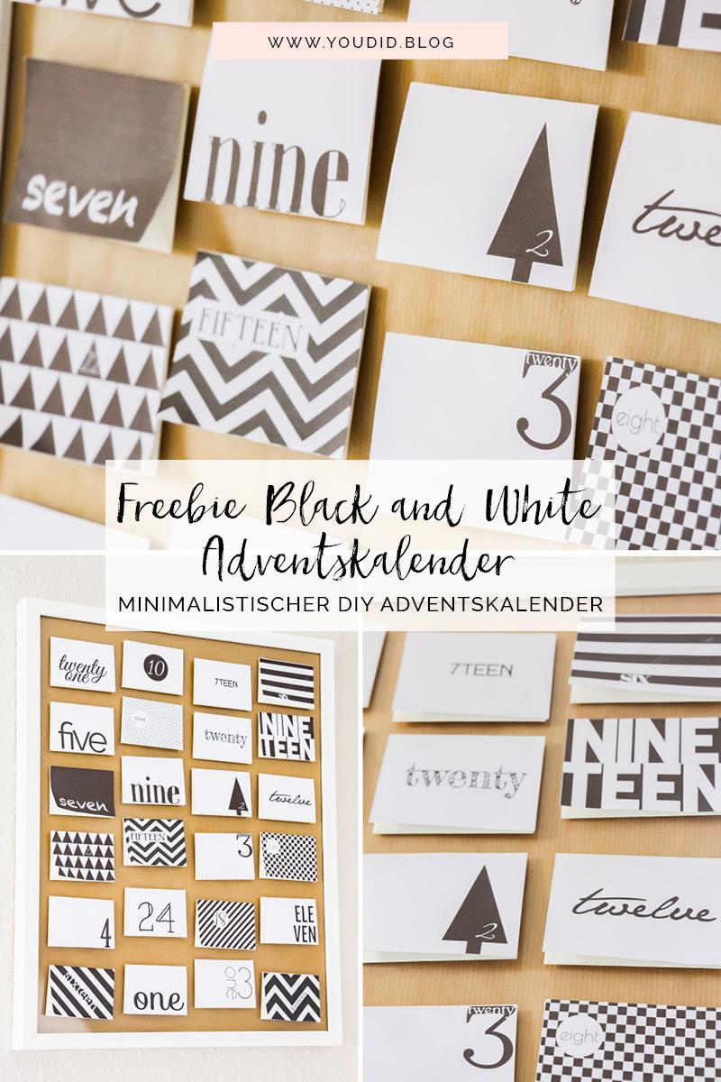 DIY Black and White Adventskalender Freebie Adventcalendar nordic christmas calendar weihnachten schwarz weiss | https://youdid.blog