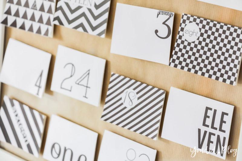 Freebie DIY Adventskalender Black and White Printable nordic christmas decor | https://youdid.blog