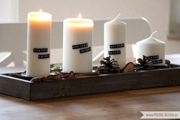 Vier Adventskerzen mit Dymobeschriftung | www.youdid-design.de