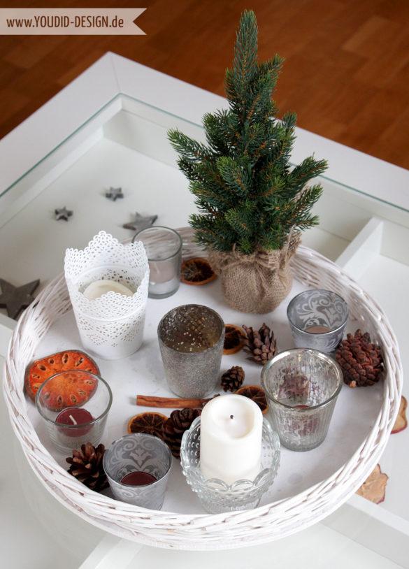 Weihnachtsdekoration Tablett mit Kerzen | www.youdid-design.de