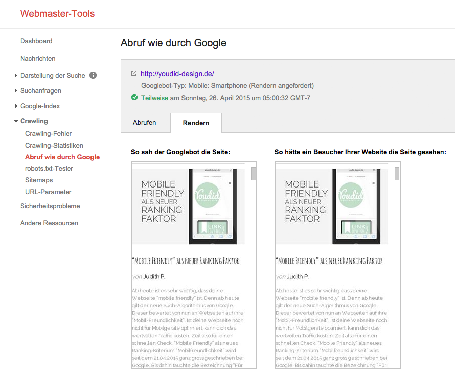 Ergebnis Abruf wie durch Google | www.youdid-design.de