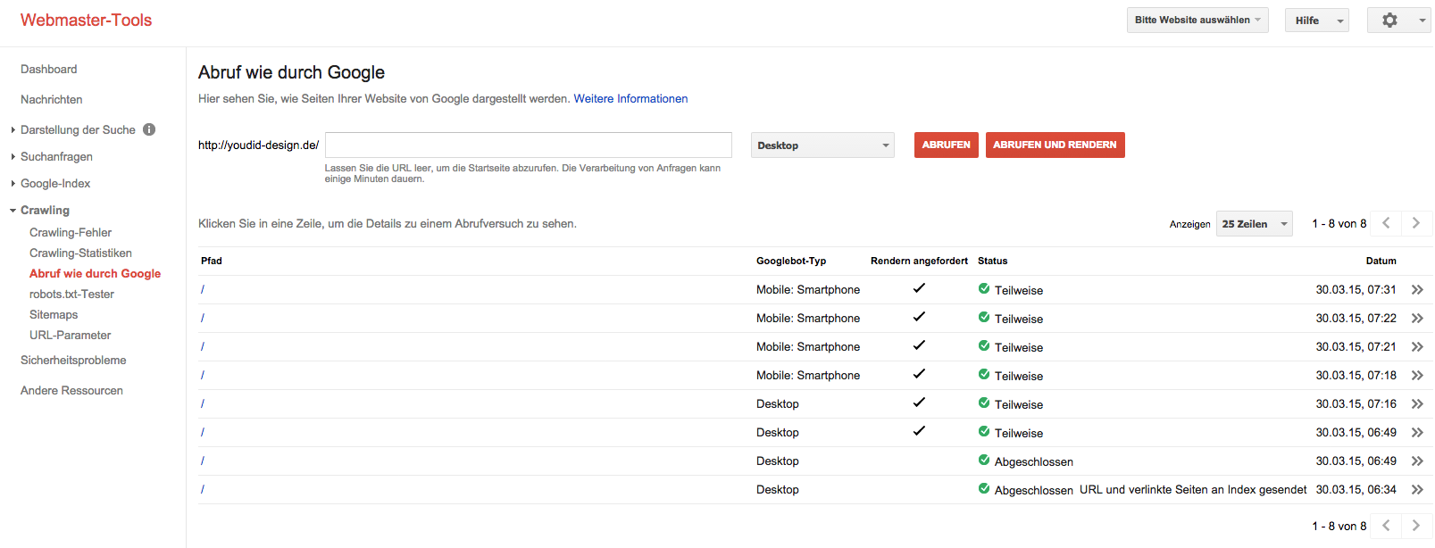 Google Webmaster Tools Abruf wie durch Google | www.youdid-design.de