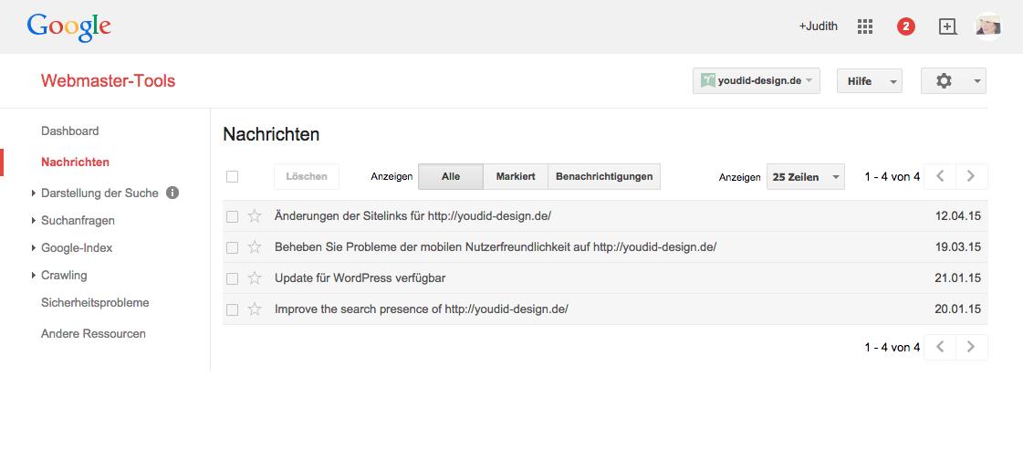 Google Webmaster Tools informiert über Optimierungen | www.youdid-design.de