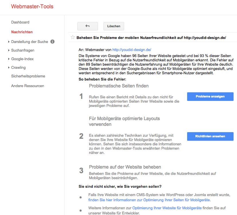 Nachricht Beheben Sie Probleme der mobilen Nutzerfreundlichkeit | www.youdid-design.de