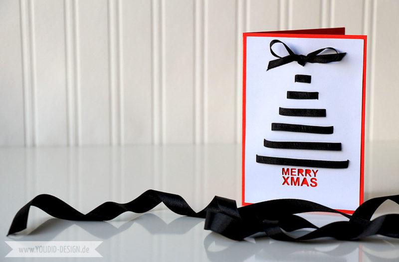 Weihnachtsbaum mit Geschenkband Karte | www.youdid-design.de