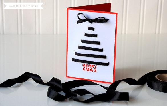 Weihnachtskarte mit Geschenkband verzieren | www.youdid-design.de