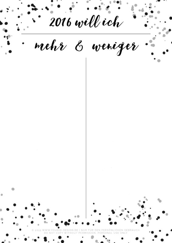 Vorsätze für 2016 Liste Free Printable New Year Resolution | www.youdid-design.de