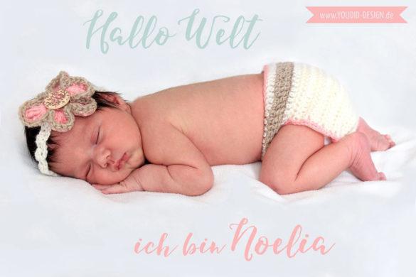 Birth Announcement Geburtsanzeige in mint blush | www.youdid-design.de
