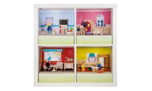 Puppenstuben im Ikea Kallax Regal | http://new-swedish-design.de/de/