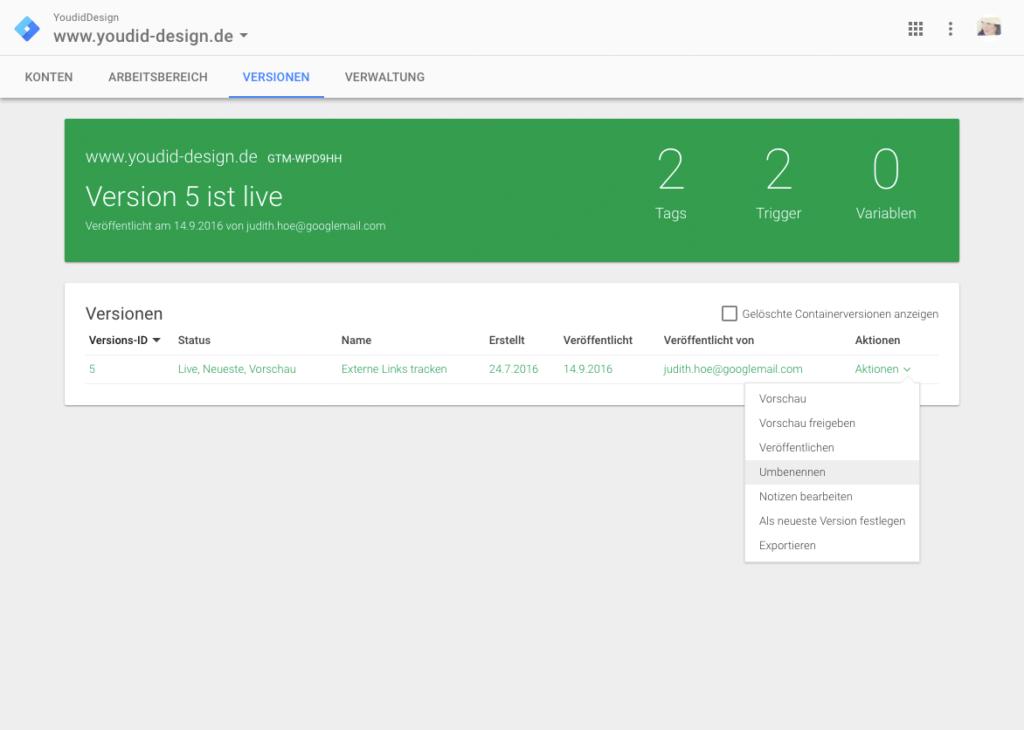 Klicks auf externe Links mit dem Google Tag Manager und Google Analytics messen - Container umbenennen   www.youdid-design.de