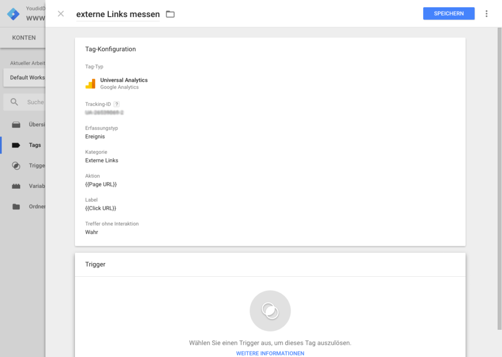 Klicks auf externe Links mit dem Google Tag Manager und Google Analytics messen - Tagkonfiguration   www.youdid-design.de