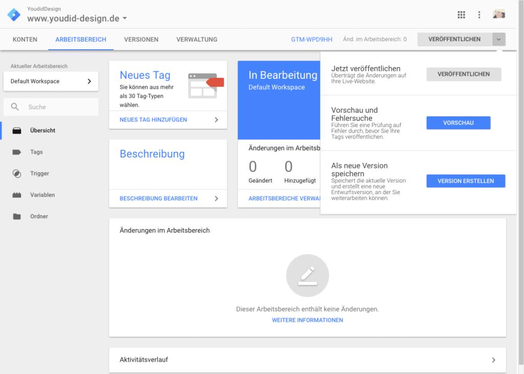 Klicks auf externe Links mit dem Google Tag Manager und Google Analytics messen - Vorschau aktivieren | www.youdid-design.de
