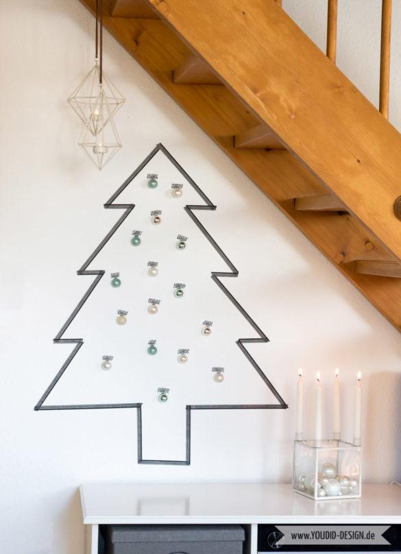 Minimalistische nordische skandinavische Weihnachtsdeko nordic Washi Tape Weihnachtsbaum | www.youdid-design.de