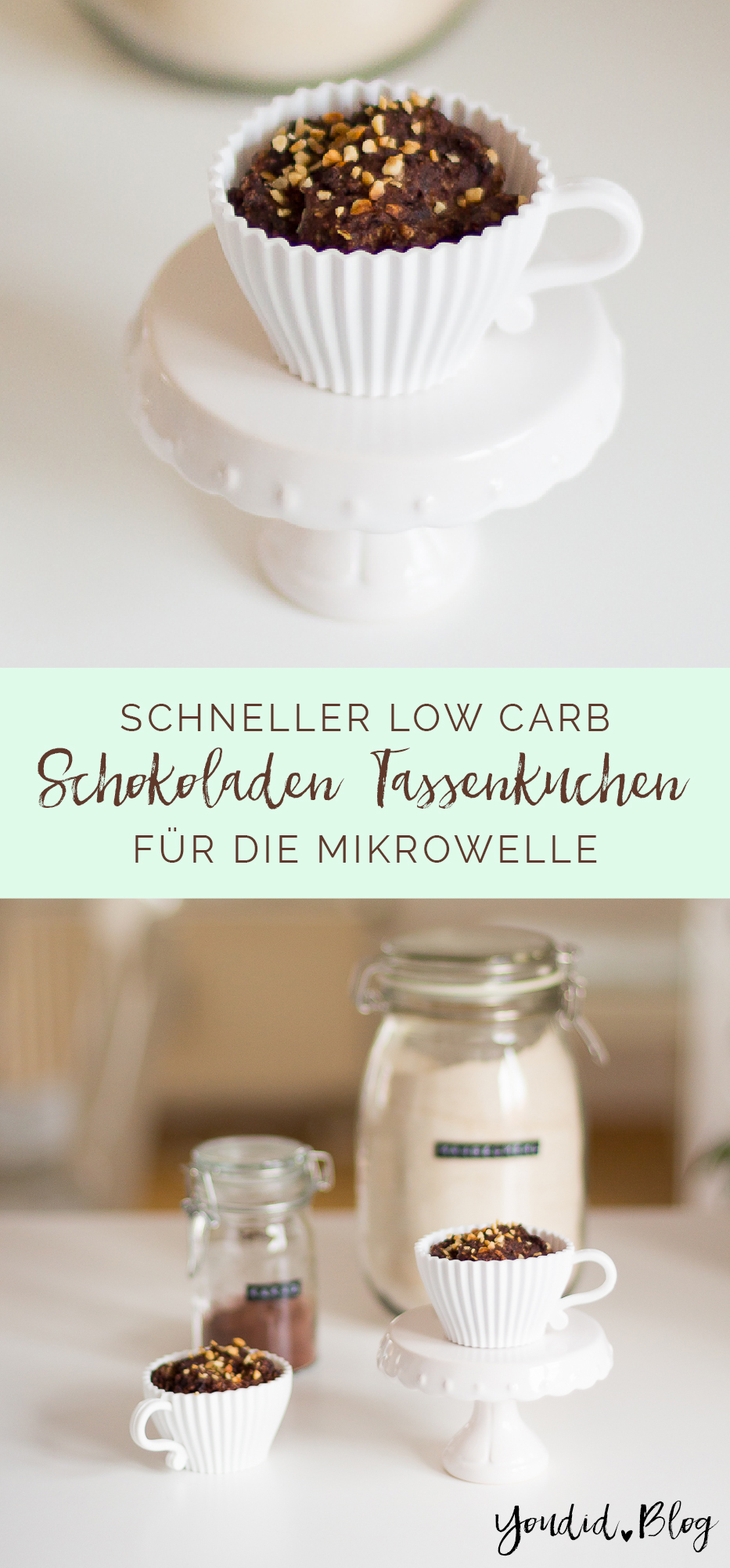 1 Minute Low Carb Schokoladen Tassenkuchen Mug Cake | https://youdid.blog