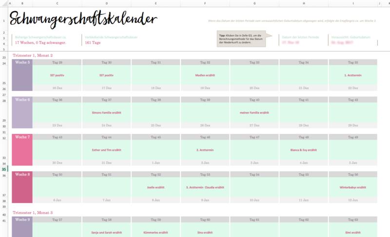Schwangerschaftskalender Excel Schwangerschaftswoche berechnen mein erstes Schwangerschaftsupdate | https://youdid.blog