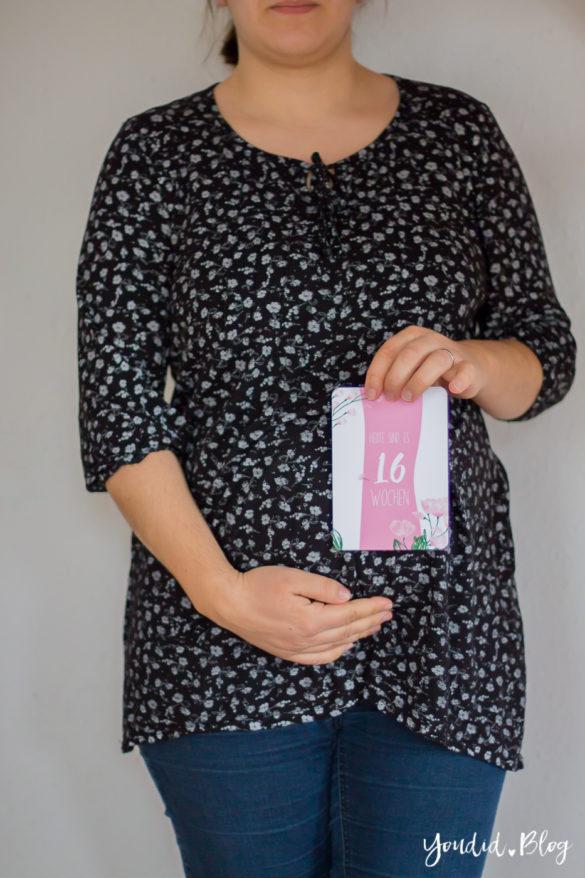16. Schwangerschaftswoche Schwangerschaftsupdate Babybauch Milestonecards | https://youdid.blog