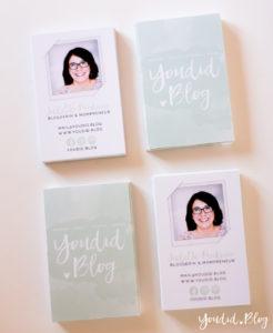 Blog Visitenkarten wasserfarben mint Blogger Business Card   https://youdid.blog