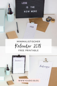 Free Printable Minimalistischer Kalender 2018 Download Minimalistic Calendar Black and White | https://youdid.blog