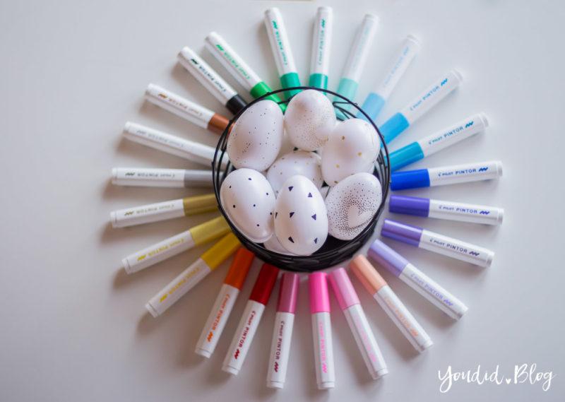 Schwarz weisse Ostereier Black and White Eastereggs Easterdecoration minimalistische Osterdekoration mit Pilot Pintor Kreativmarker | https://youdid.blog