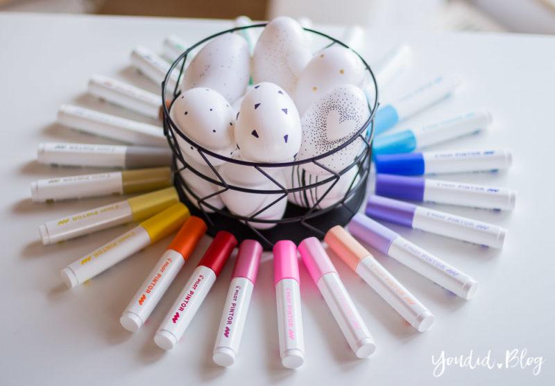 Schwarz weisse Ostereier mit Pilot Pintor Kreativmarker Black and White Eastereggs Easterdecoration minimalistische Osterdekoration | https://youdid.blog