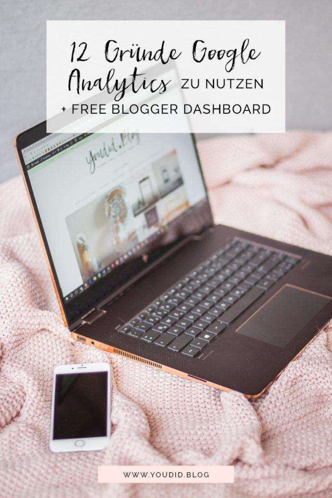 Gründe warum du als Blogger Google Analytics nutzen solltest kostenloses - free Google Analytics Blogger Dashboard | https://youdid.blog