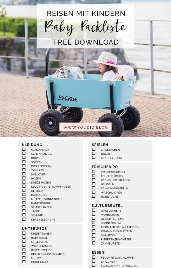 Kostenlose Baby Packliste Freebie Download - Urlaub mit Baby Checkliste | https://youdid.blog