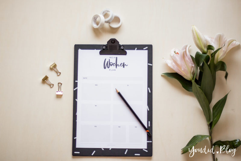 Ordnungsliebe die neue Kategorie auf meinem Blog Wochenplaner Freebie Free Printable Weekplanner | https://youdid.blog