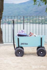 Stylischer Bollerwagen statt Geschwisterwagen der im Sand fahren kann | https://youdid.blog