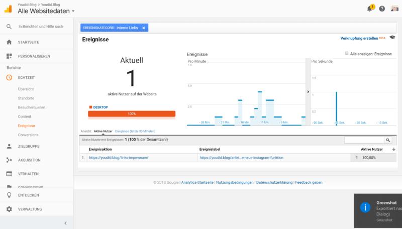 Downloadzahlen und interne Links tracken mit Google Analytics und dem Google Tag Manager Echtzeitanalyse einzelner Link | https://youdid.blog