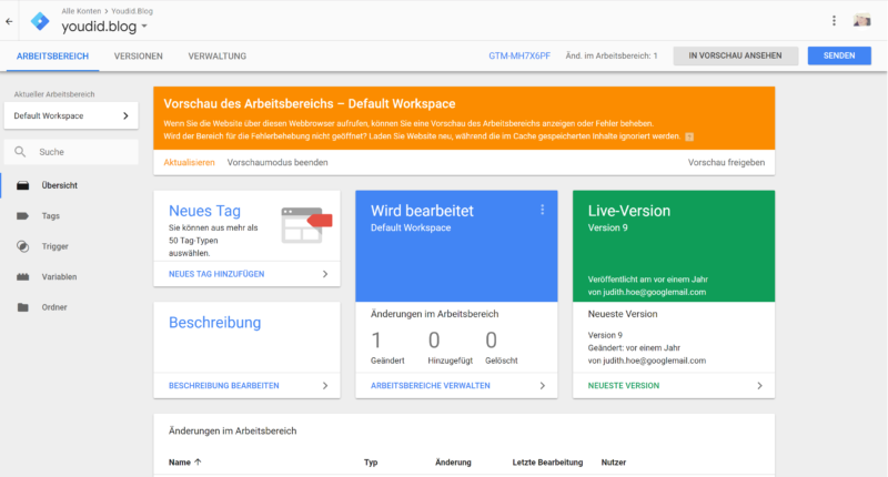 Downloadzahlen und interne Links tracken mit Google Analytics und dem Google Tag Manager Tag testen | https://youdid.blog