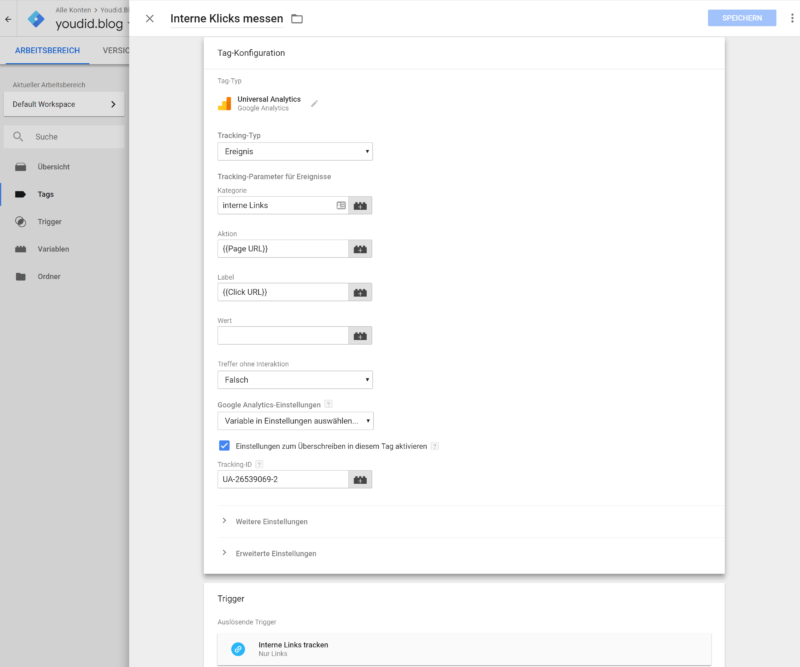Downloadzahlen und interne Links tracken mit Google Analytics und dem Google Tag Manager Tagkonfiguration | https://youdid.blog