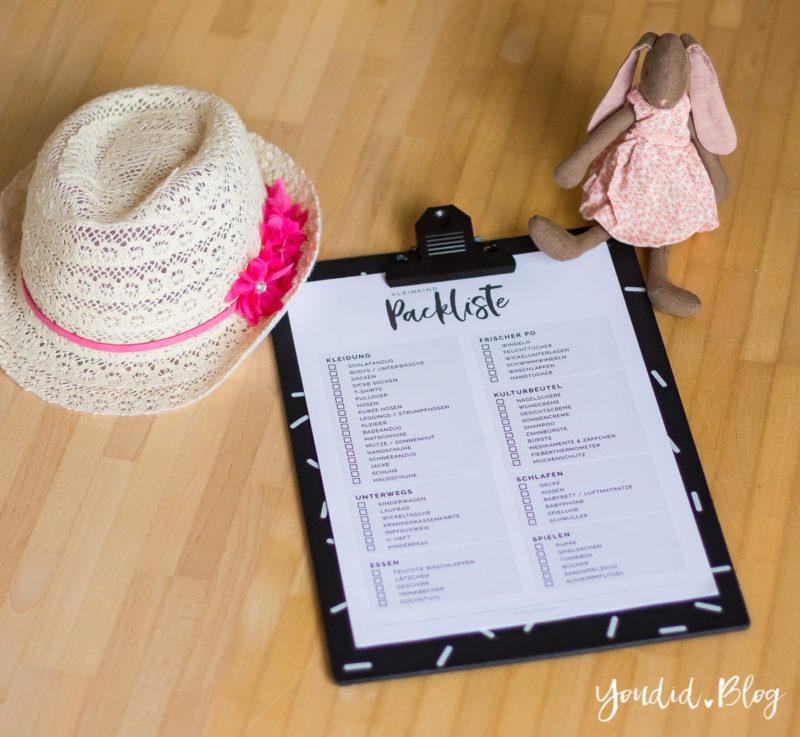 Kostenlose Kleinkind Packliste Freebie Download - Urlaub mit Kindern Checkliste | https://youdid.blog