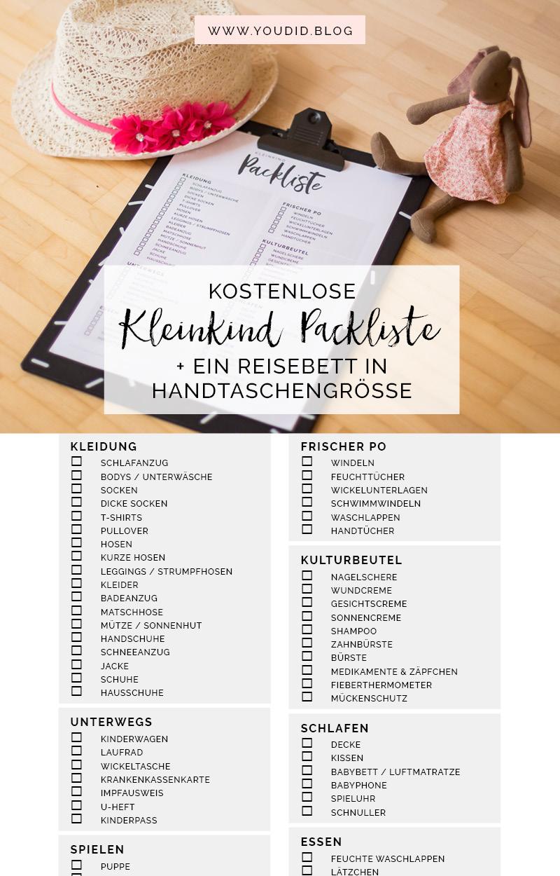 Kostenlose Kleinkind Packliste Freebie Download - Urlaub mit Kleinkind Checkliste | https://youdid.blog