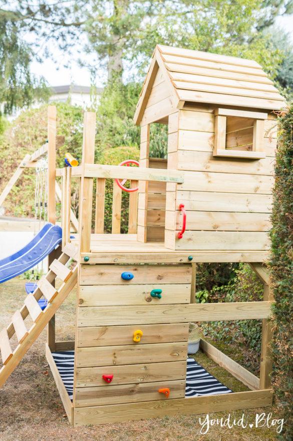Ein Kletterturm mit Rutsche Sandkasten Schaukel und Spielhaus Kletterwand - Unsere Erfahrung mit dem Wickey Spielturm | https://youdid.blog