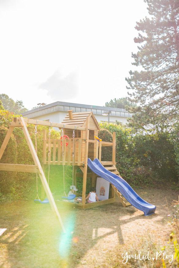 Ein Kletterturm mit Rutsche Sandkasten Schaukel und Spielhaus . Unsere Erfahrung mit dem Wickey Spielturm Smart Lodge 120 | https://youdid.blog