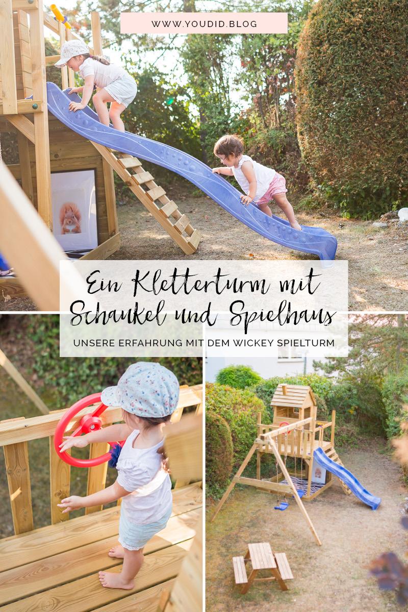 Ein Kletterturm mit Rutsche Sandkasten Schaukel und Spielhaus - Unsere Erfahrungen mit dem Wickey Spielturm Playtower | https://youdid.blog