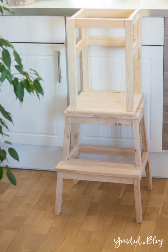 IKEA Hack DIY Learning Tower selber bauen Bauanleitung für einen günstigen Lernturm aus IKEA Hockern natur | https://youdid.blog