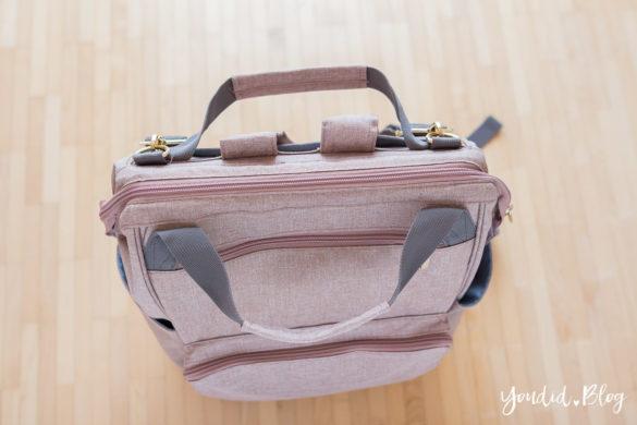 Wickeltasche oder Wickelrucksack was ist praktischer mit zwei Kindern Glam Goldie von Lässig in rosa | https://youdid.blog
