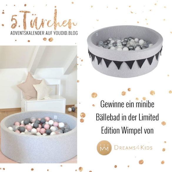 Gewinnbild Gewinne ein Minibe Baellebad Limited Edition Wimpel von Dreams4Kids | Special Blog Adventskalender auf https://youdid.blog