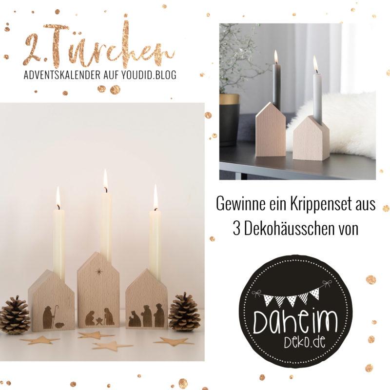 Special Adventskalender auf Youdid.Blog Gewinnbild Gewinne eine moderne Krippe aus Holz von Daheim Deko | https://youdid.blog