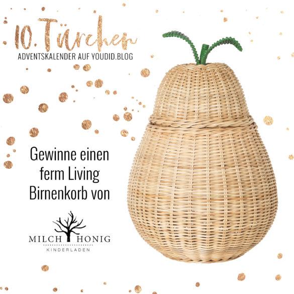 Gewinnbild Gewinne einen Ferm Living Birnenkorb von Milch und Honig | Special Blog Adventskalender auf https://youdid.blog