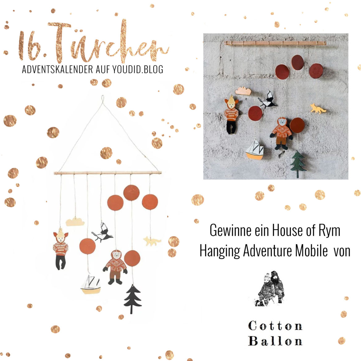 Special Adventskalender auf Youdid.Blog Gewinnbild Gewinne ein House of Rym Hanging Adventure Mobile von Cotton Ballon