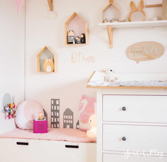 Nordic girlsroom skandinavisches Kinderzimmer Wickelaufsatz für die IKEA Hemnes Kommode | https://youdid.blog