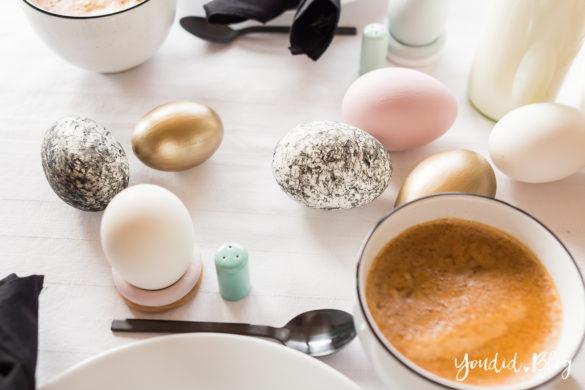 Ideen für deine Ostertischdeko - Dekoideen für deinen Ostertisch Osterbrunch Ostern - Easter Decoration Happy Easter - Ostereier färben bemalen goldene schwarz weisse Eier | https://youdid.blog