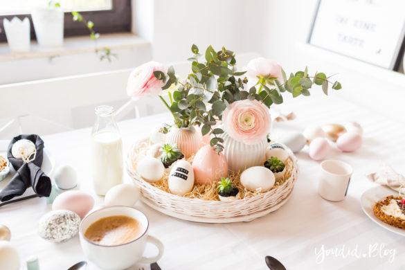 Osterbrunch mit Granola Tarte - Dekoideen für deinen Ostertisch - Easter Decoration - Ostereier schwarz weiss färben - Eier mit Sukkulenten bepflanzen - Breakfast Granola Tart | https://youdid.blog