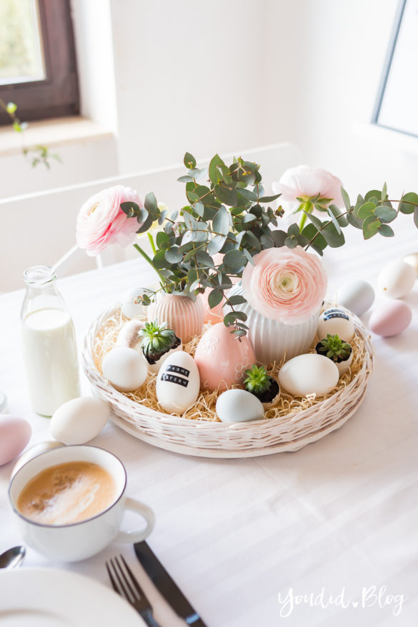 Osterbrunch mit Granola Tarte - Dekoideen für deinen Ostertisch Ostern Dekoideen - Easter Decoration Happy Easter - Ostereier färben Eier bemalen - Breakfast Granola Tart Dymo   https://youdid.blog