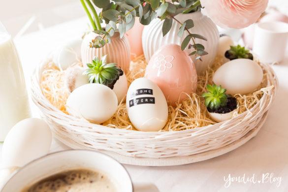 Osterbrunch mit Granola Tarte - Dekoideen für deinen Ostertisch Ostern - Easter Decoration - Ostereier gold färben - Eier bemalen - Breakfast Granola Tart - Eier mit Sukkulenten bepflanzen | https://youdid.blog