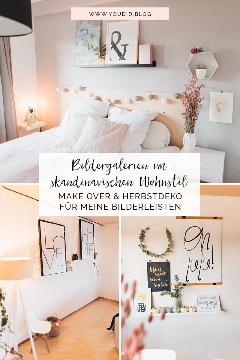 Bildergalerien im skandinavischen Wohnstil Make Over und Herbstdeko für meine Bilderleisten im Schlafzimmer Wohnzimmer und Home Office | https://youdid.blog
