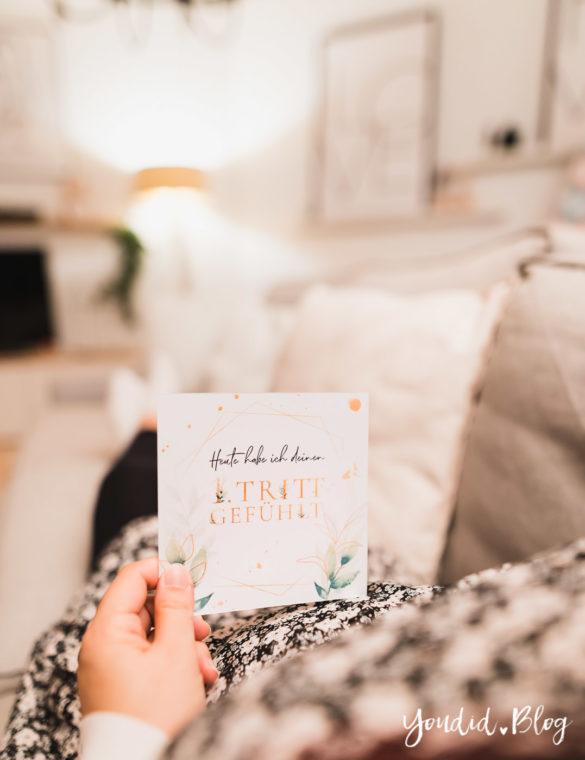 Schwangerschafts Meilensteinkarte Pregnancy Milestonecard erste Kindsbewegung Schwangerschaftsupdate | https://youdid.blog